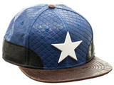 Captain America- Faux Leather Snapback キャップ