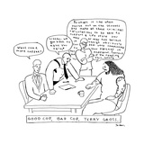 "TITLE: ""Good cop, bad cop, Terry Gross."" Three men doing an interrogation.... - New Yorker Cartoon Premium Giclee Print by Michael Shaw"