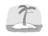 A cat on a branch of a palm tree, on a desert island. - New Yorker Cartoon Premium Giclee Print by Jason Adam Katzenstein