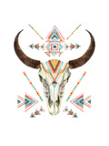 Cow Skull in Tribal Style. Animal Skull with Ethnic Ornament Prints by  tanycya