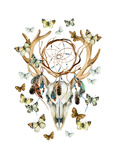 Deer Skull. Animal Skull with Dreamcather and Butterfly. Prints by  tanycya