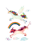 Watercolor Fairy Tale Collection with Flying Unicorn, Rainbow, Magic Clouds and Fairy Wings Prints by  tanycya