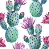 Watercolor Seamless Cactus Pattern Print by  tanycya