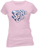 Juniors: Supergirl- Pink Super Logo T-shirt