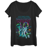 Womans: Star Wars- Neon Hope Scoop Neck T-shirts