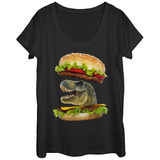 Womens: Dino Burger Scoop Neck T-shirts