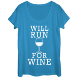 Womans: Will Run For Wine Scoop Neck Shirts
