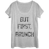 Womens: But First Brunch Scoop Neck Bluser
