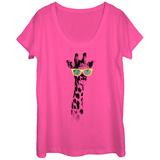Womans: Hippster Giraffe Scoop Neck Kleding
