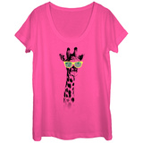Womans: Hippster Giraffe Scoop Neck T-shirts
