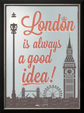 Typographical Retro Style Poster With London Symbols And Landmarks Poster by  Melindula