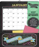 Chalkboard—Be Happy! - 2017 Calendar with Pocket Kalendere