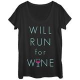 Womens: Vino Run Scoop Neck T-skjorte