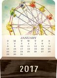 Vintage Photography - 2017 Wood Block Desk Calendar Kalendarze