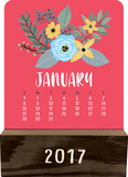 Modern Floral - 2017 Wood Block Desk Calendar Calendars