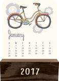 Retro Year - 2017 Wood Block Desk Calendar Kalendarze