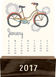 Retro Year - 2017 Wood Block Desk Calendar Calendari