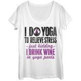 Womens: Yoga Wine Pants Scoop Neck T-skjorter