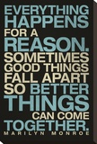 Everything Happens For a Reason Marilyn Monroe Quote Stretched Canvas Print