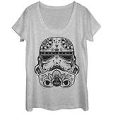 Womans: Star Wars- Sugar Skull Trooper Helmet Scoop Neck T-shirts