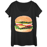 Womans: Stacked Burger Scoop Neck T-Shirts