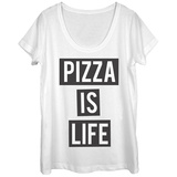 Womans: Pizza Is Life Scoop Neck Koszulki
