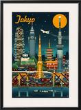 Tokyo, Japan - Retro Skyline Posters by  Lantern Press