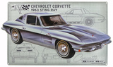 Chevy Corvette Schematic Tin Sign