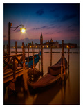 Venice Gondolas At Sunrise Print by Melanie Viola