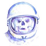 Skull in Space Helmet Art by  viktoria