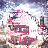 City Art London Red Busses Poster by Melanie Viola