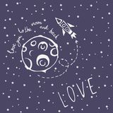 Card Love You to the Moon and Back Premium Giclee Print by  happiestsim