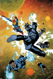 Ultimates No.3 Cover, Featuring Captain Marvel, Black Panther, Monica Rambeau, Blue Marvel and More Plastic Sign