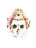 Skull, Flowers, Watercolor Poster by  viktoria