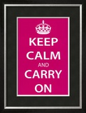 Keep Calm and Carry On (Motivational, Magenta) Art Poster Print Prints