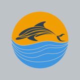 Dolphin Vector Premium Giclee Print by  ilovecoffeedesign