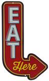 Eat Here Arrow Tin Sign