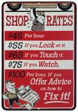Shop Rates Plaque en métal