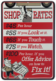 Shop Rates Placa de lata