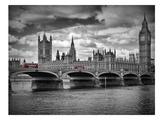 London Houses Of Parliament & Red Busses Affiches par Melanie Viola