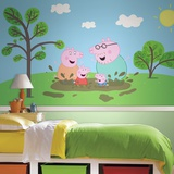 Peppa Pig XL Chair Rail Prepasted Mural Wallpaper Mural