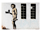 Cave Man Fast Food Print by  Banksy