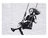 Mädchen auf einer Schaukel Poster von  Banksy