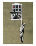 Man Hanging out of Window Poster