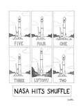 TITLE: NASA HITS SHUFFLE. Six panels, labeled: Five, four, one, three, lif... - New Yorker Cartoon Premium Giclee Print by Charlie Hankin