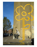 Double Yellow Lines Flower Stampe di  Banksy