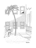 A man on a desert island on a city street waving to a ship up in a window. - New Yorker Cartoon Premium Giclee Print by Jack Ziegler