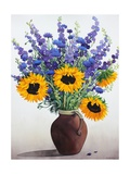 Summer Flowers in Brown Jug Giclee Print by Christopher Ryland