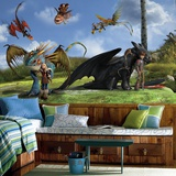 How To Train Your Dragon Character XL Chair Rail Prepasted Mural Wallpaper Mural