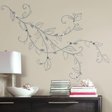 Silver Leaf Giant Peel and Stick Wall Decals with Pearls Wall Decal